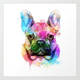 French bulldog Watercolor Art Print