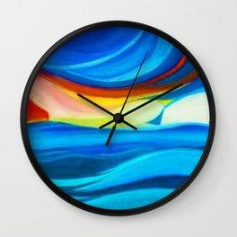 Coastal Sunrise landscape painting by Pierluigi Bossi Wall Clock
