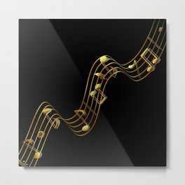 Golden Music Notes Metal Print
