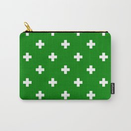 Swiss cross pattern on green Carry-All Pouch
