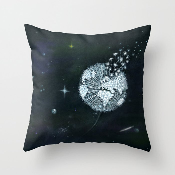 Blowing in Space Throw Pillow