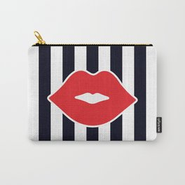 Red Lips with Stripes Carry-All Pouch