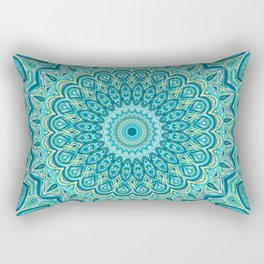 Turquoise Treat - Mandala Art Rectangular Pillow