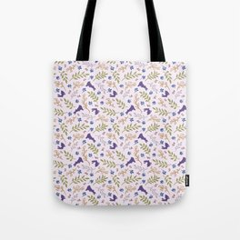 Ditsy Bunnies Amok - Purple Bunnies, Pink Background Tote Bag