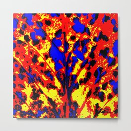 Fire Tree Pop Art Metal Print