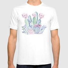 Desert Love Cactus + Succulents MEDIUM White Mens Fitted Tee