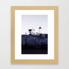 Navy Blue Lighthouse Framed Art Print