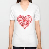 inside gaming V-neck T-shirts featuring Gaming Love by Tombst0ne