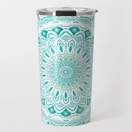 White Mandala on Blue Green Distressed Background with Detail and Textured Travel Mug