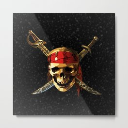 The Smile Skull Pirates Metal Print