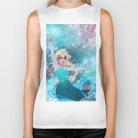 frozen elsa Biker Tanks featuring Frozen Elsa by Teo Hoble