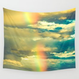 Rainbow Blue Sky Clouds Wall Tapestry