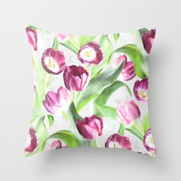 Bright Tulips on Soft Grey Throw Pillow
