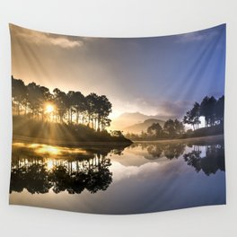 Sunset Reflections on Lake Wall Tapestry