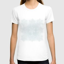 Crocheted Snowflake Ornaments on teal mist T-shirt