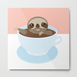 Sloth in a blue cup coffee, tea, Three-toed slot Metal Print