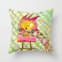 chicken Throw Pillows featuring Chicken by Dawn Patel Art
