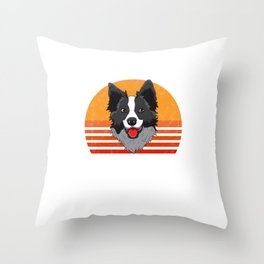 Best Border Collie Dad Ever  Funny Shepard Dog Owner Throw Pillow