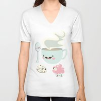 coffee V-neck T-shirts featuring Coffee! by Gina Mayes