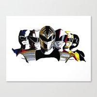 power rangers Canvas Prints featuring Power Rangers by SquidInkDesigns