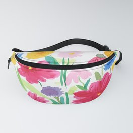 Whimsical Wildflowers, Watercolor Flowers, Pink Red and Yellow Flowers, Ladybug Art, Colorful Fun Fanny Pack