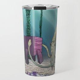 Pink Cube Travel #2 Meeting squid under the sea Travel Mug