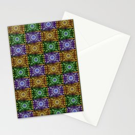 K115 Purple, Gold and Green Stamp Pattern Design Stationery Cards