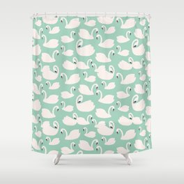 Duck Egg Blue Swans Shower Curtain