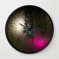 saga Wall Clocks featuring Condensation 08 - Saga | Charcoal by PRE Media