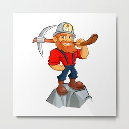 Prospector cartoon,miner funny Metal Print