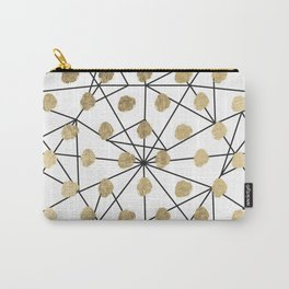 Black faux gold geometrical chic polka dots Carry-All Pouch