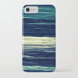 Blue Teal Texture Stripes iPhone Case