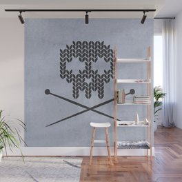 Knitted Skull (Black on Faded Periwinkle) Wall Mural