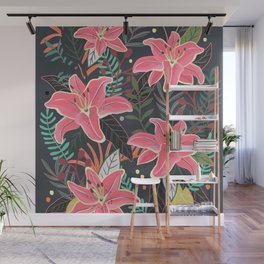 Aloha at Night floral flower illustration Wall Mural