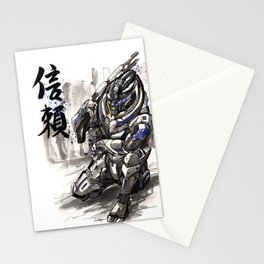 Garrus from Mass Effect sumie style with Japanese calligraphy Stationery Cards