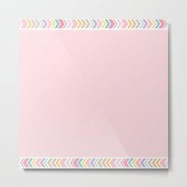 Bohemian Rose Quartz Pastels Pink Border Graphic Design Metal Print