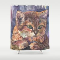 meow Shower Curtains featuring Meow by Emma Reznikova