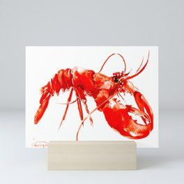 Red Kitchen Seafood Red Lobster design, art, painting Boston Mini Art Print