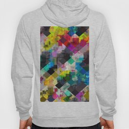 psychedelic square pixel pattern abstract background in red pink blue yellow green Hoody