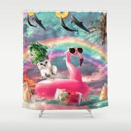 Cute Rainbow Cat On Flamingo With Dolphin Shower Curtain