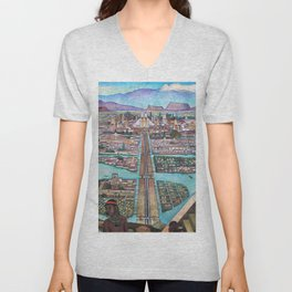 Mural of the Aztec city of Tenochtitlan by Diego Rivera Unisex V-Neck