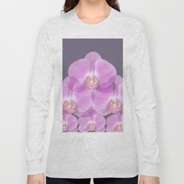 PINK ORCHIDS & GREY FLORAL ABSTRACT ART Long Sleeve T-shirt