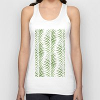 green pattern Tank Tops featuring Herringbone Green Nature Pattern by Maioriz Home