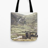 castle in the sky Tote Bags featuring castle by ©YU by Jaesindesign