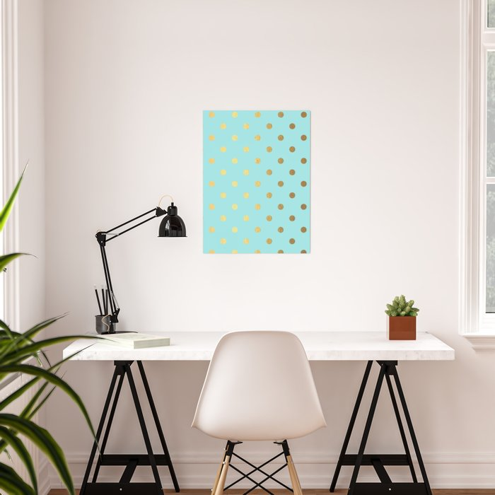 Gold polka dots on aqua background - Luxury turquoise pattern Poster