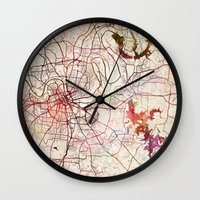 nashville Wall Clocks featuring Nashville by MapMapMaps.Watercolors