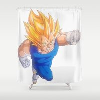 dragonball Shower Curtains featuring Ascended Super Saiyan Vegeta by bmeow