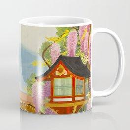 Vintage Mid Century Modern Japan Travel Poster Deer Red Pagoda Wisteria Garden Coffee Mug