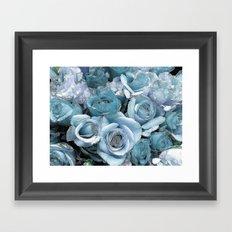 Ocean Blue Roses Framed Art Print