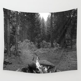 Backpacking Camp Fire B&W Wall Tapestry
